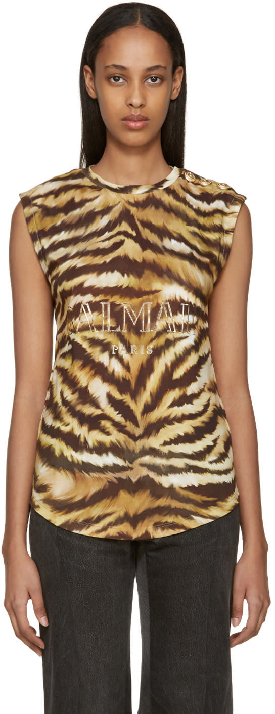 Balmain Gold and Brown Zebra Logo T-shirt