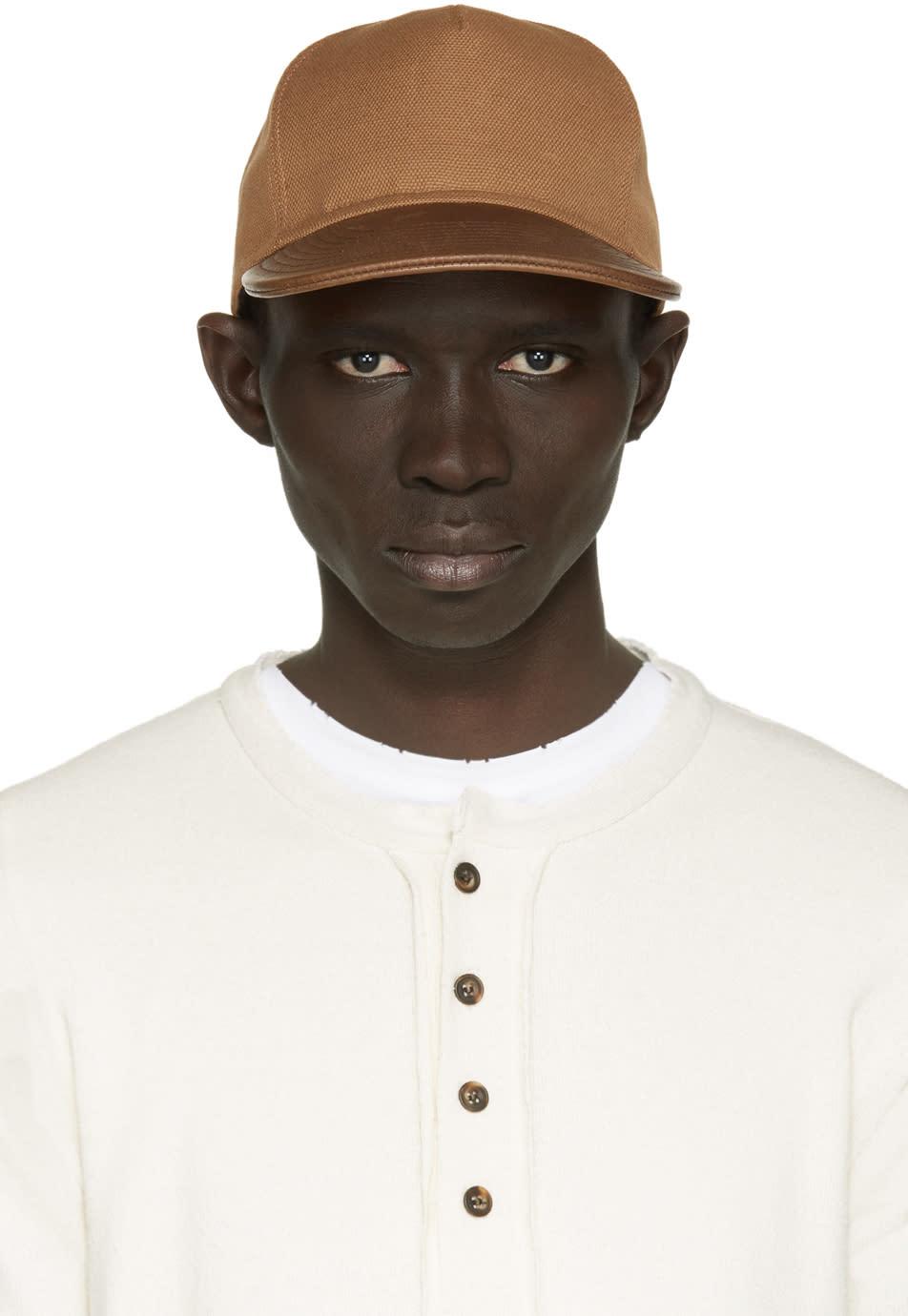 Balmain Tan Leather Trimmed Cap