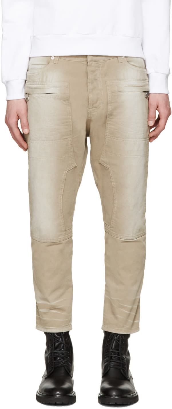 Balmain Tan Cropped Jeans