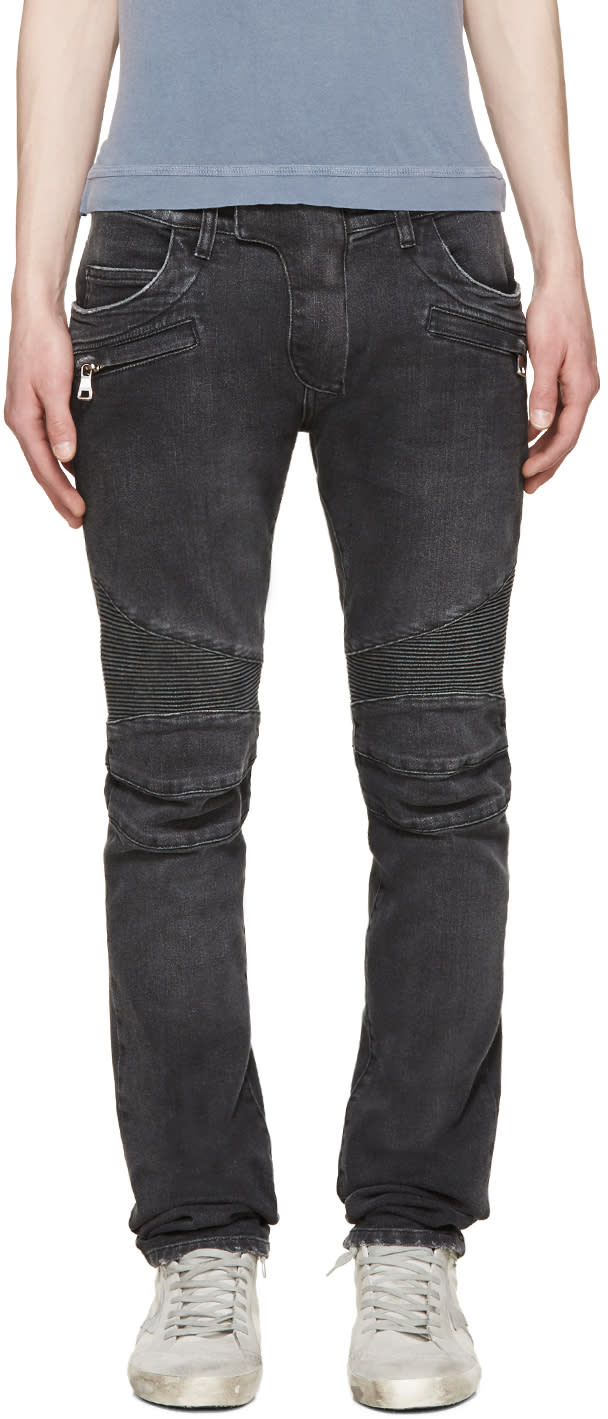 Balmain Grey Distressed Biker Jeans