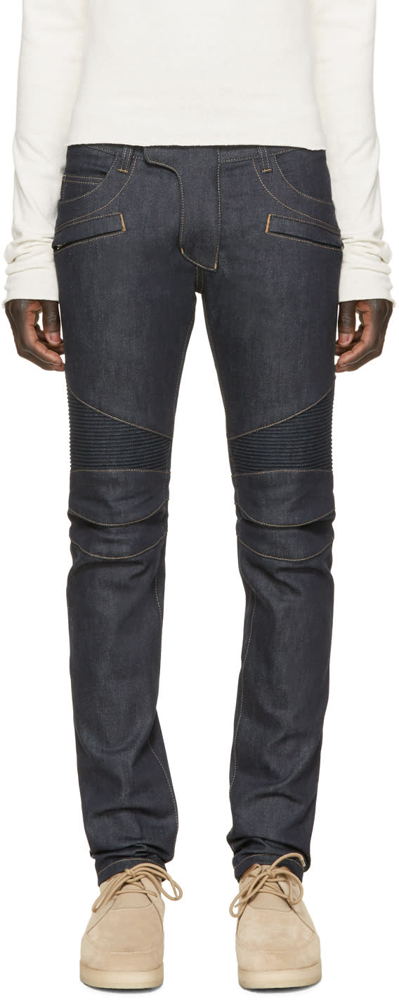 Balmain Indigo Raw Biker Denim