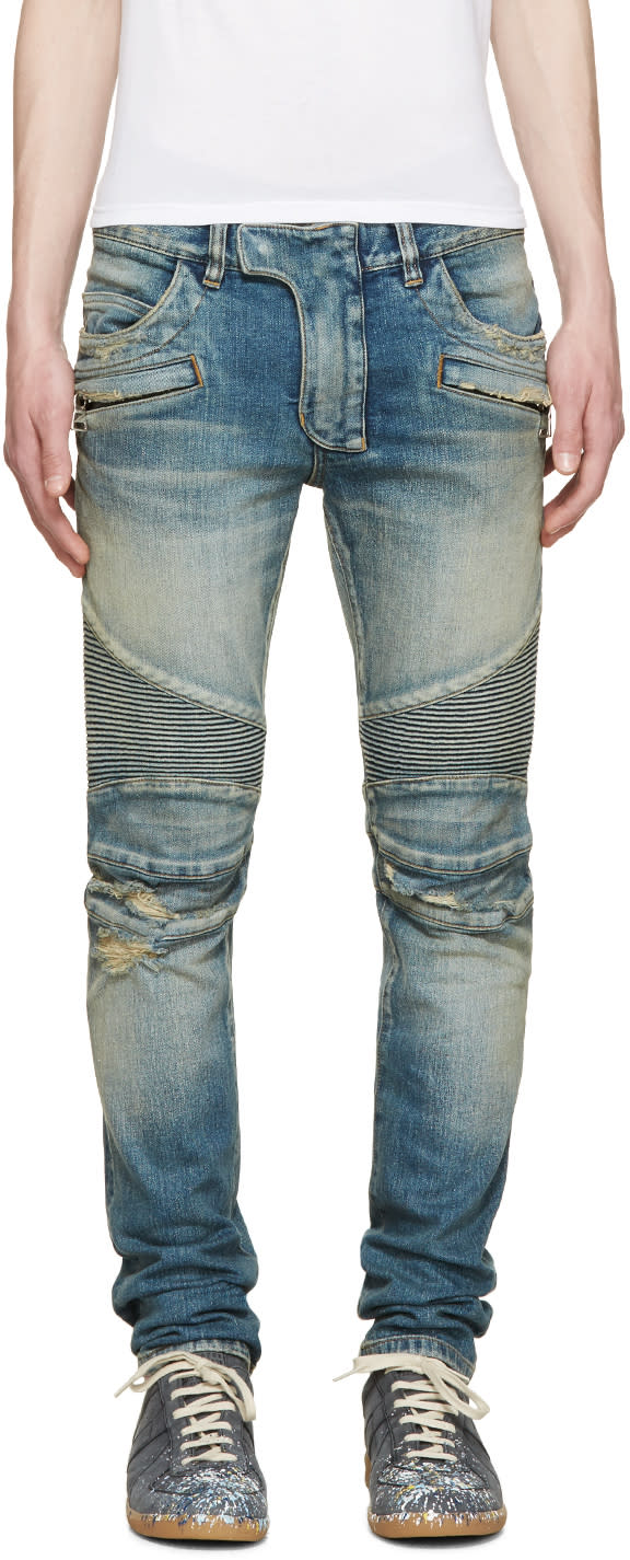 Balmain Blue Destroyed Biker Jeans
