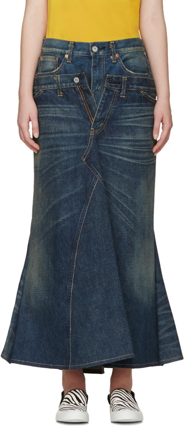 Junya Watanabe Indio Denim Layered Skirt