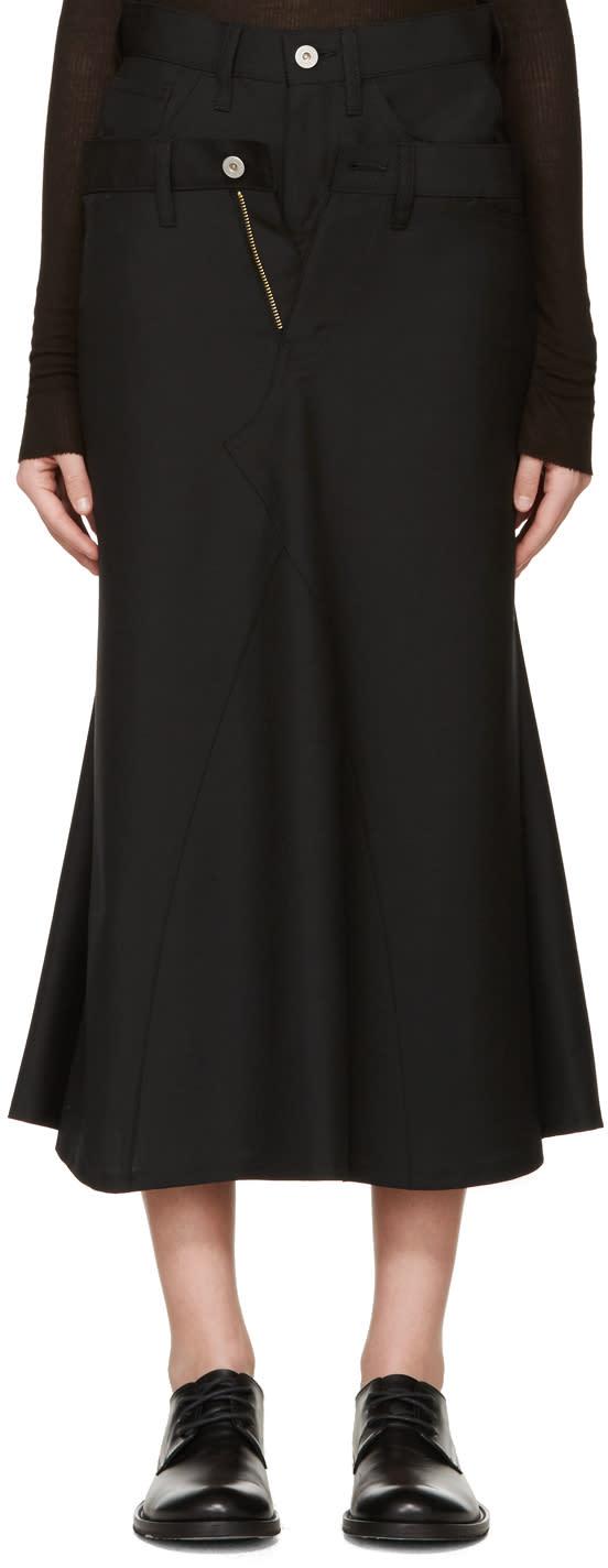 Junya Watanabe Black Wool Double Skirt