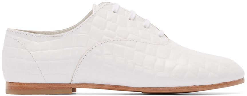 Junya Watanabe White Croc-embossed Oxfords