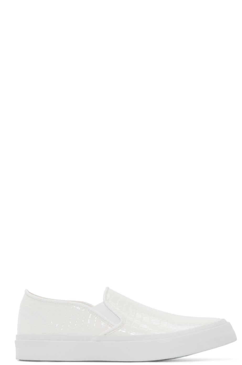 Junya Watanabe White Croc-embossed Slip-on Sneakers