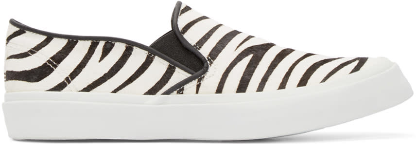 Image of Junya Watanabe Black and White Calf-hair Zebra Slip-on Sneakers