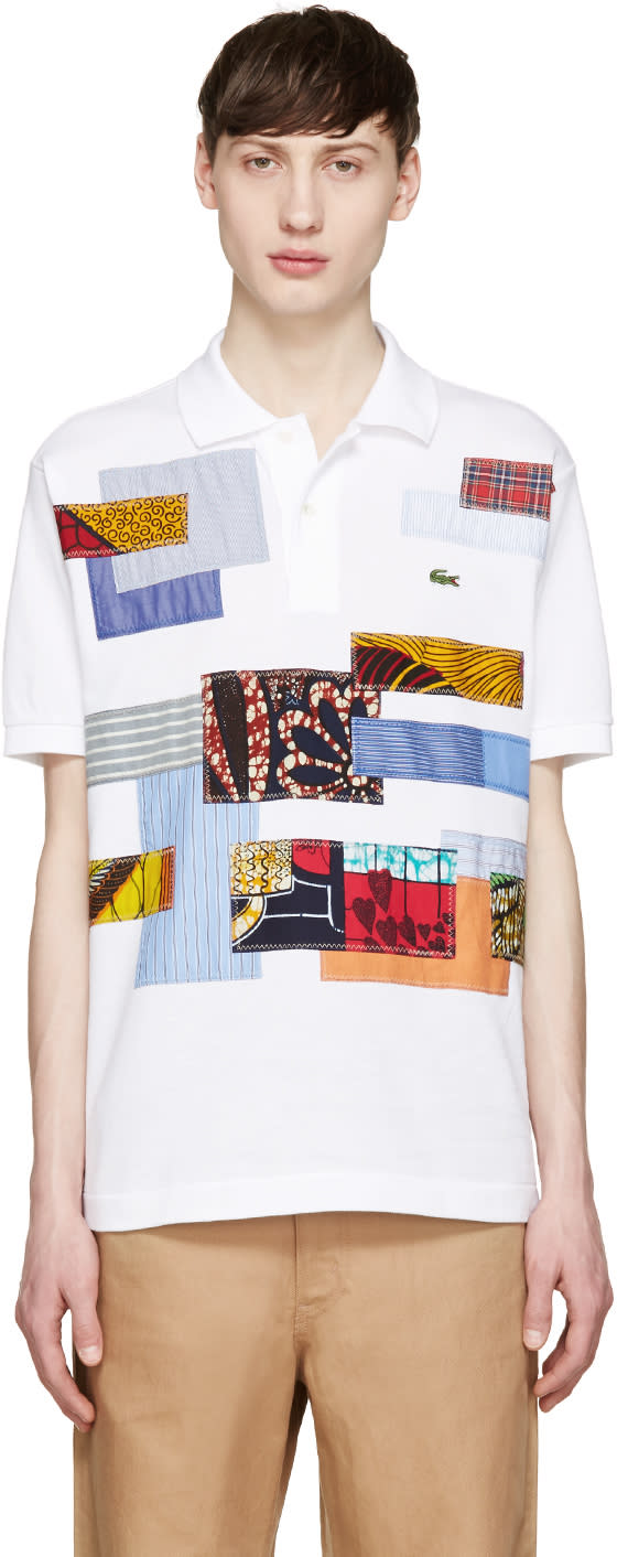 Junya Watanabe White Patchwork Lacoste Edition Polo