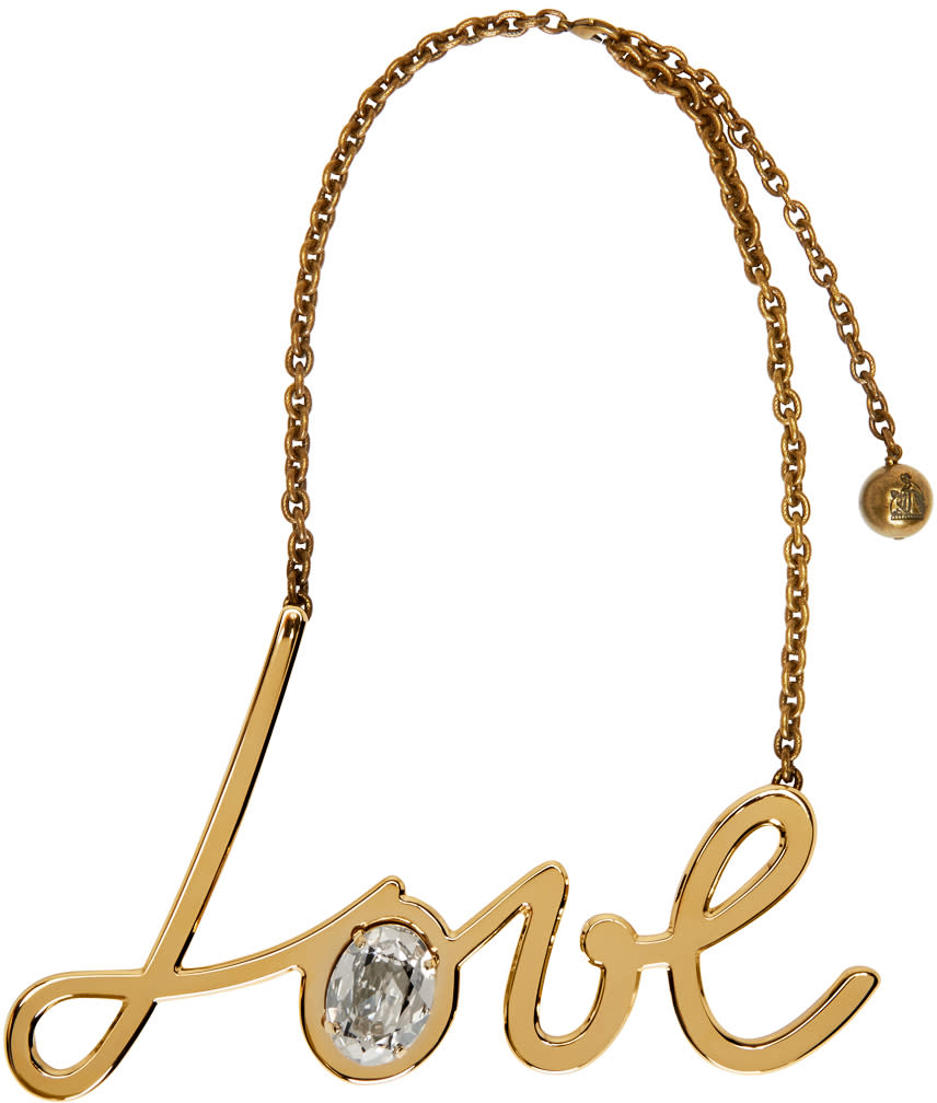 Lanvin Gold and Crystal Love Necklace at SSENSE