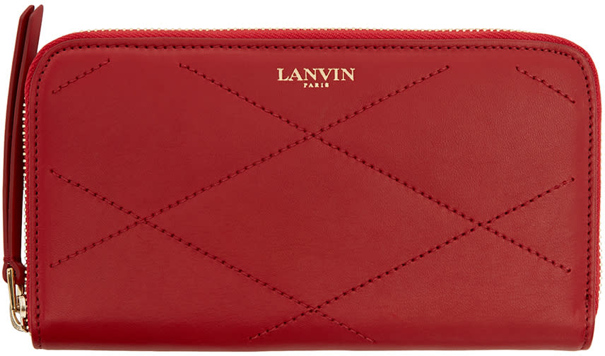 Lanvin Red Quilted Leather Sugar Wallet at SSENSE