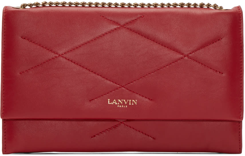 Lanvin Red Quilted Chain Sugar Clutch at SSENSE