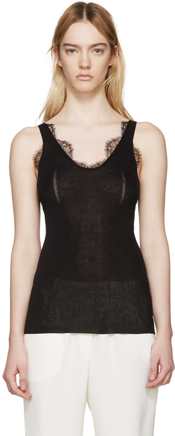 Lanvin Black Knit Lace Tank Top