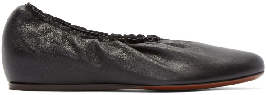 Lanvin Black Leather Ballerina Flats