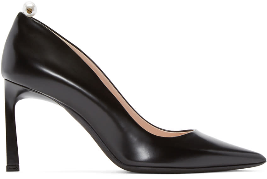 Lanvin Black Leather Pearl-studded Pumps at SSENSE