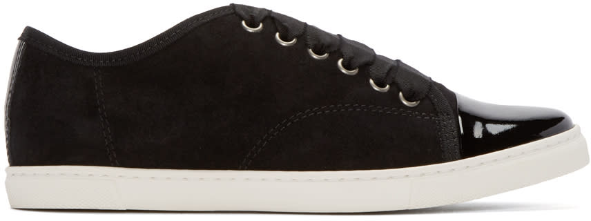 Lanvin Black Suede and Patent Leather Sneakers at SSENSE