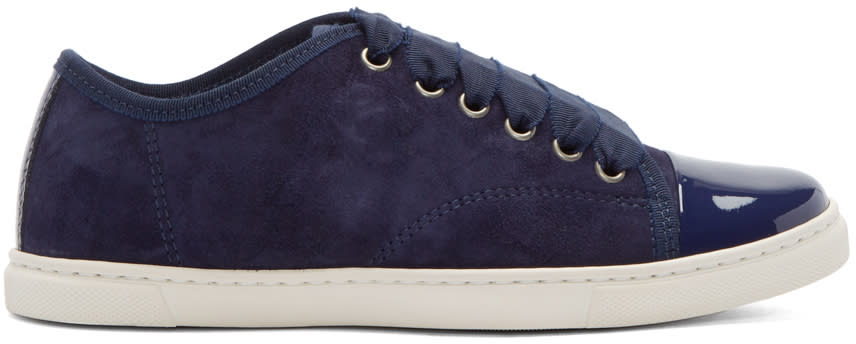 Lanvin Navy Suede and Patent Leather Sneakers at SSENSE