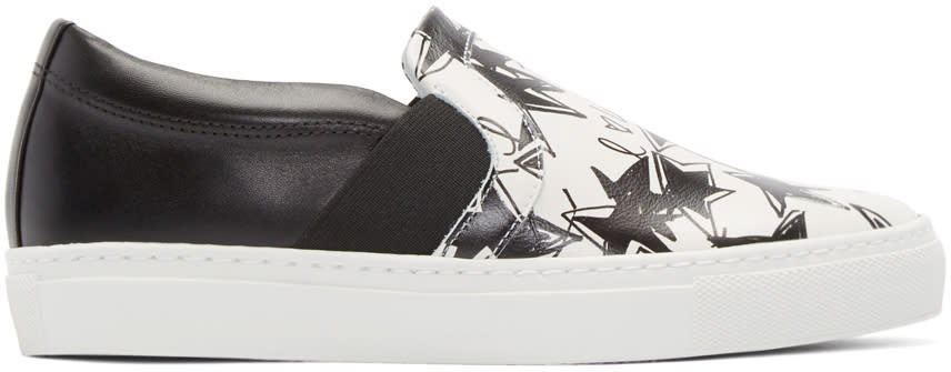 Lanvin Black and White Star Slip-on Sneakers at SSENSE