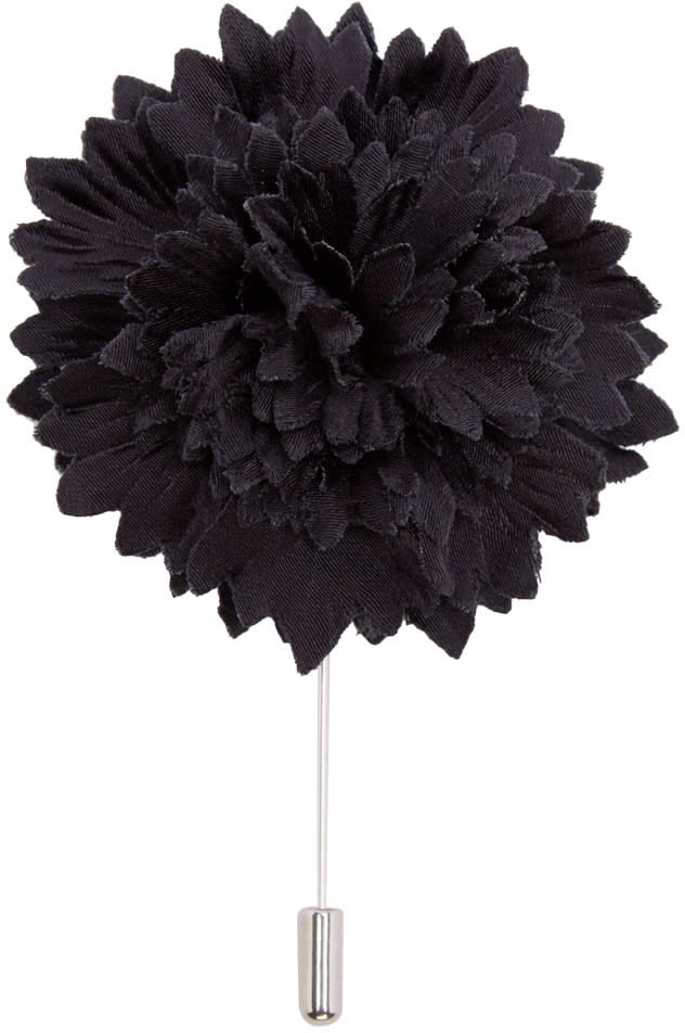 Lanvin Black Carnation Tie Pin