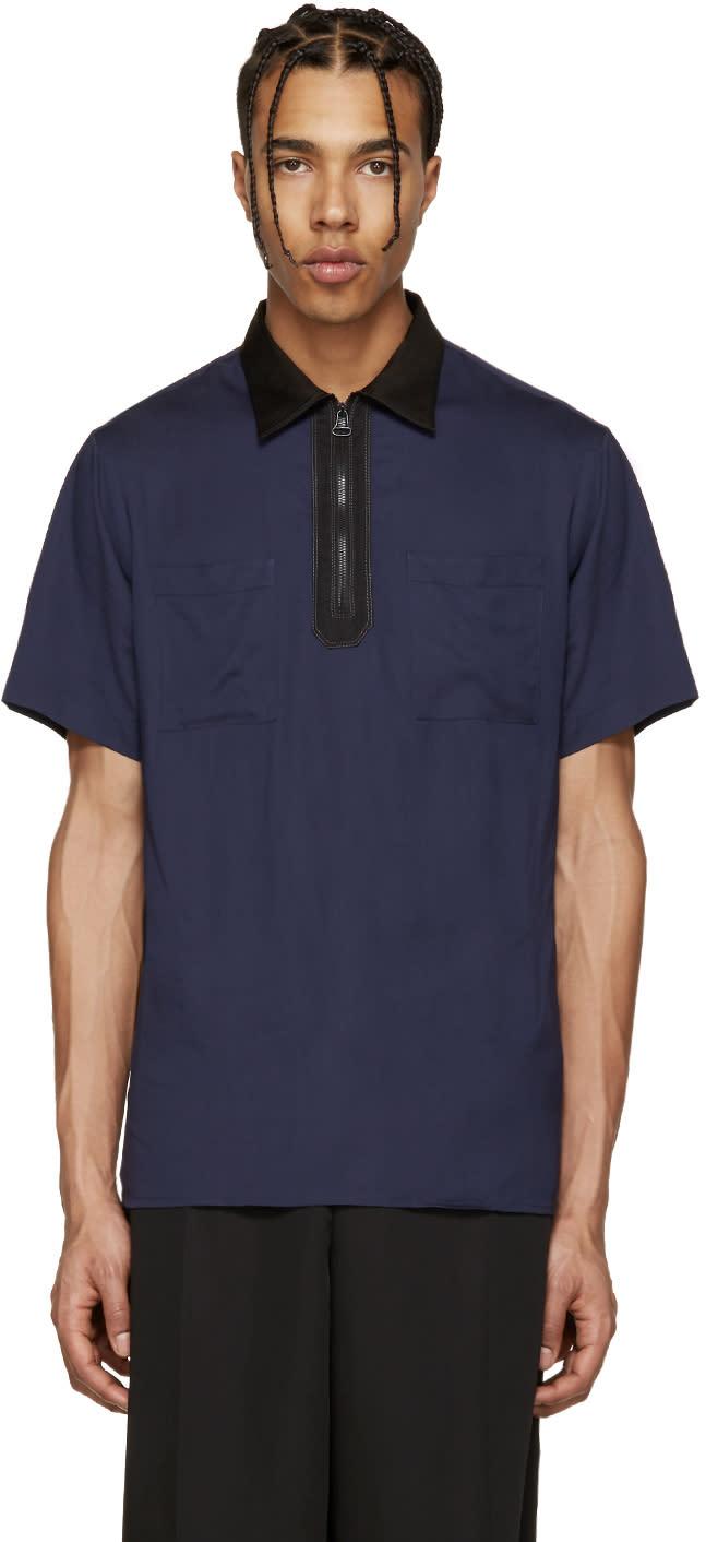 Lanvin Navy Zip Colorblock Polo