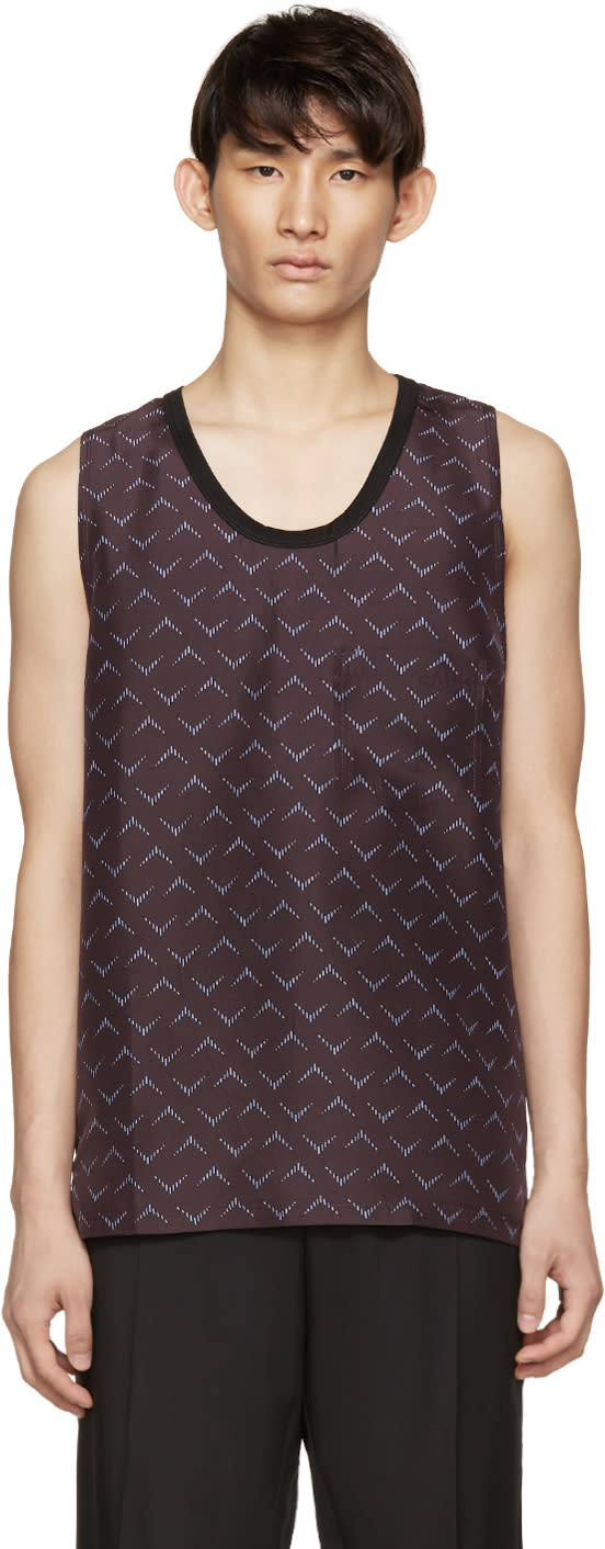 Lanvin Burgundy Printed Silk Tank Top