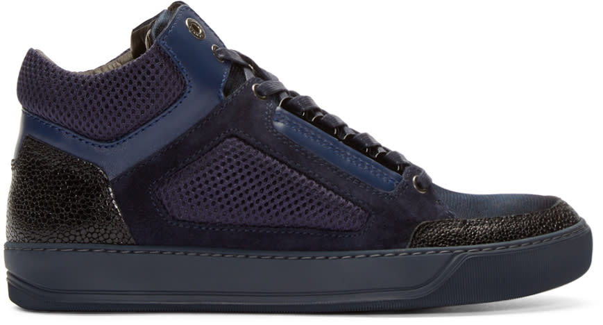 Lanvin Navy Leather and Mesh Mid-top Sneakers