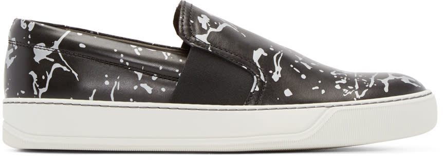 Lanvin Black Leather Impression Slip-on Sneakers