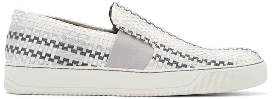 Lanvin Grey and White Woven Slip-on Sneakers
