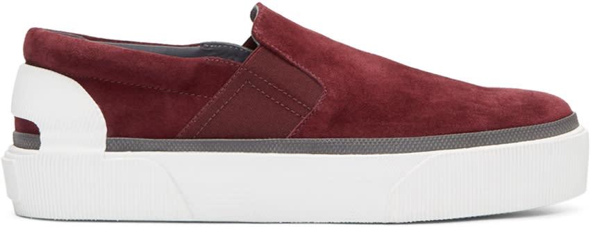 Lanvin Burgundy Suede Slip-on Sneakers