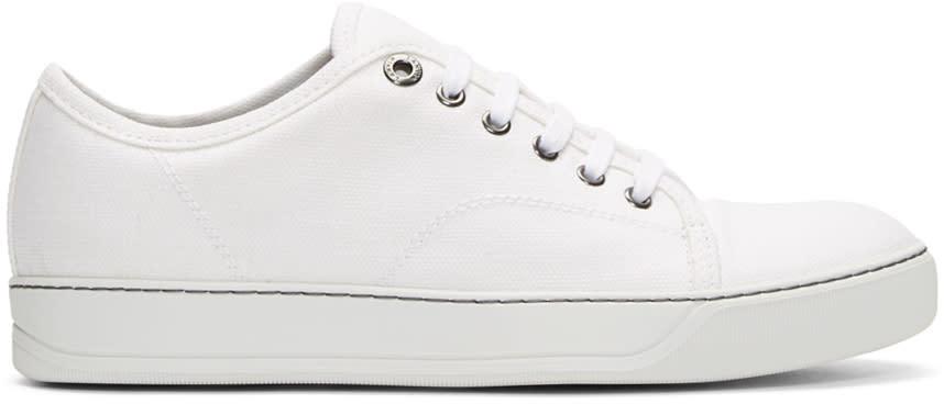 Lanvin White Linen Cap-toe Sneakers