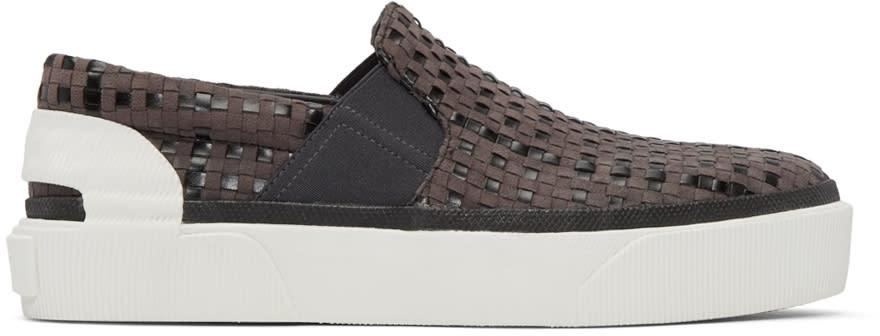 Lanvin Grey Suede Woven Slip-on Sneakers