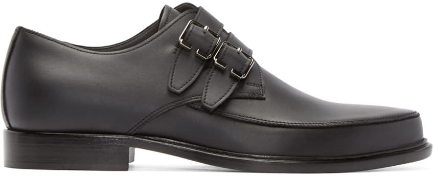 Lanvin Black Leather Monkstrap Loafers