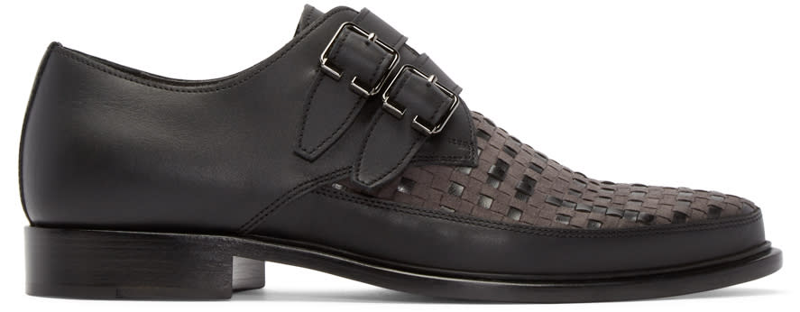 Lanvin Black Woven Monkstrap Shoes