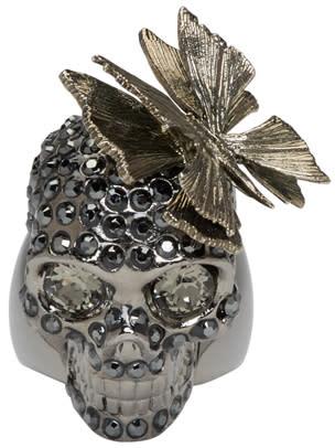 Alexander Mcqueen Gunmetal Butterfly Skull Ring