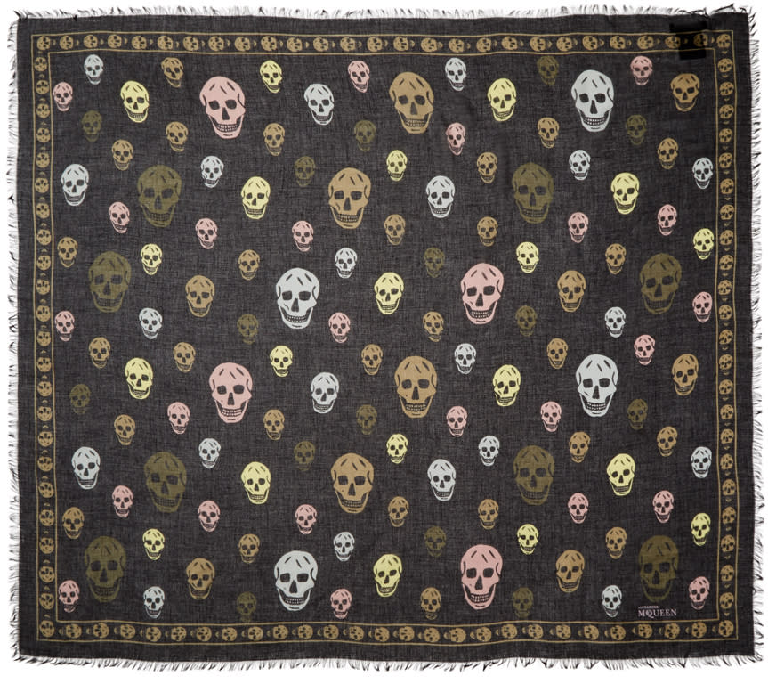 Alexander Mcqueen Black and Multicolor Skull Scarf