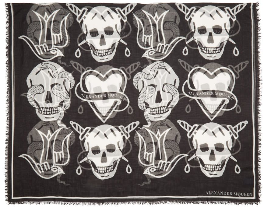 Alexander Mcqueen Black Oversized Tattoo Scarf