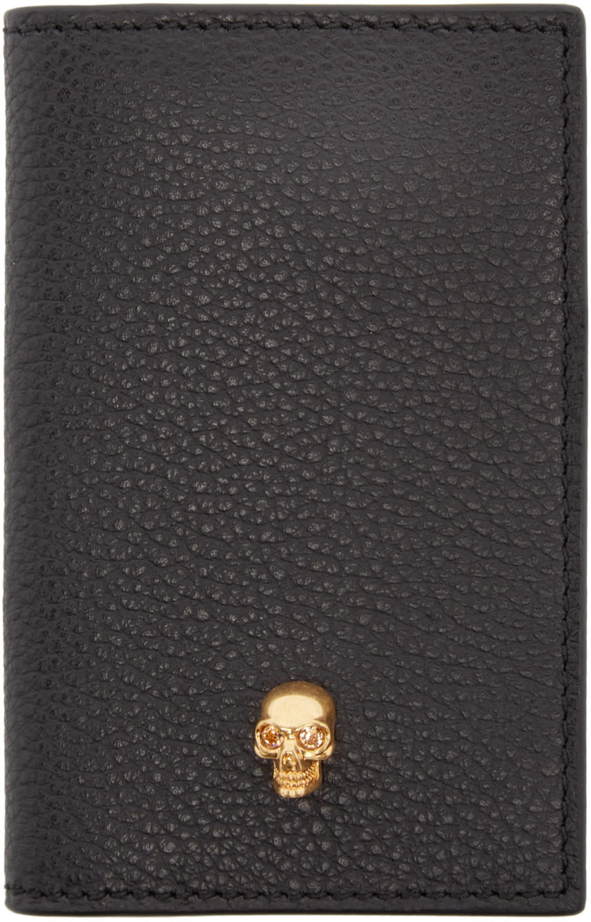 Alexander Mcqueen Black Leather Pocket Organizer
