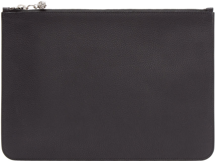 Alexander Mcqueen Black Leather Zip Pouch