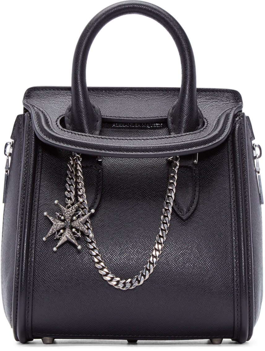 Alexander Mcqueen Black Jewelled Mini Heroine Duffle Bag