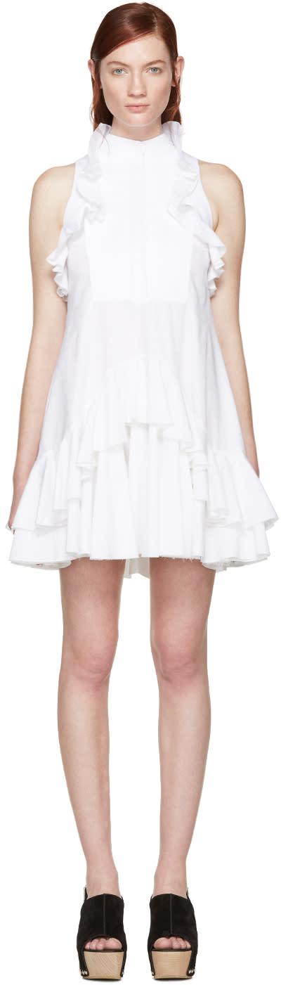 Alexander Mcqueen White Jacquard Ruffled Dress
