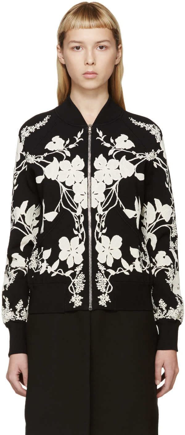 Alexander Mcqueen Black and Ivory Floral Bomber Jacket