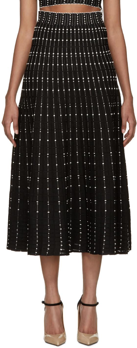 Alexander Mcqueen Black Flared Knit Skirt