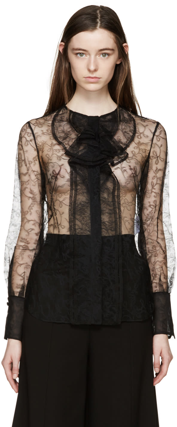 Alexander Mcqueen Black Lace Ruffles Blouse