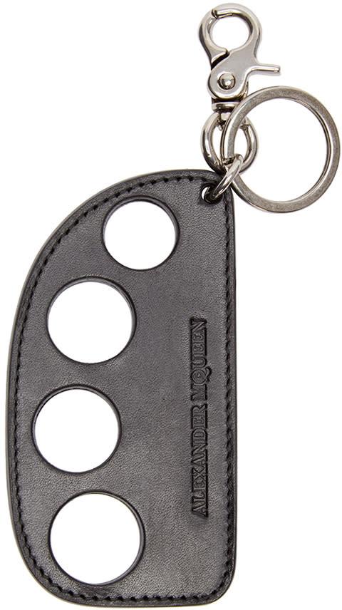 Alexander Mcqueen Black Leather Knuckleduster Keychain