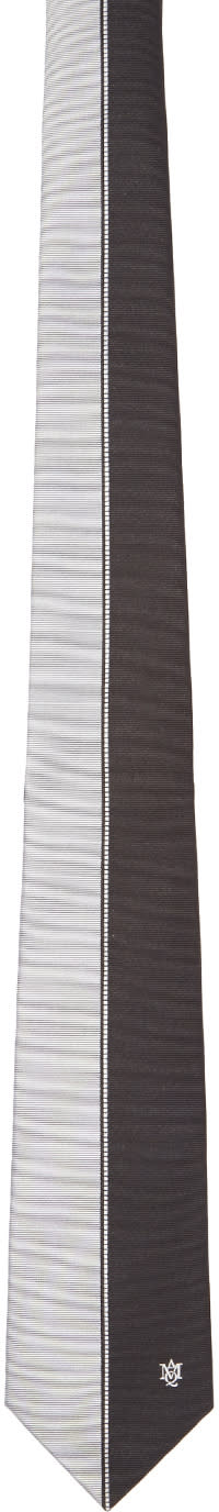 Alexander Mcqueen Black and White Silk Block Color Tie