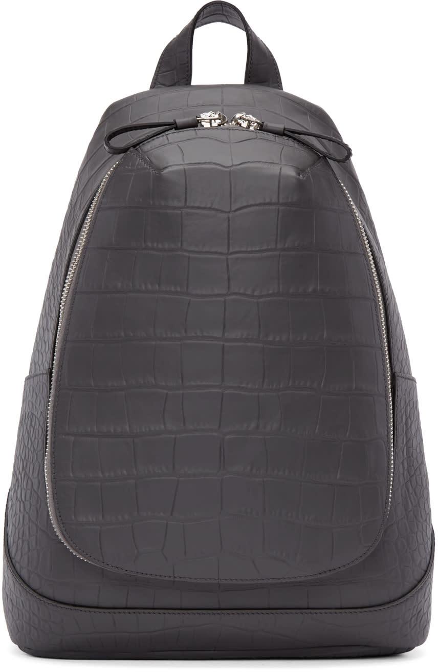 Alexander Mcqueen Grey Croc-embossed Leather Backpack