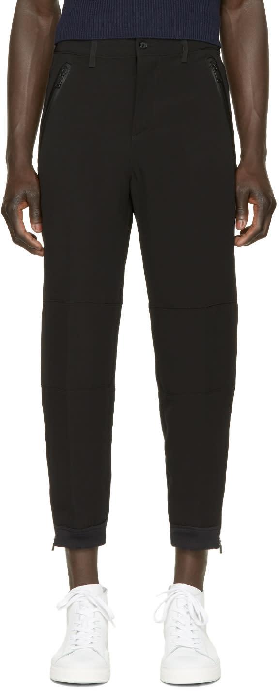 Alexander Mcqueen Black Crepe Zip Trousers