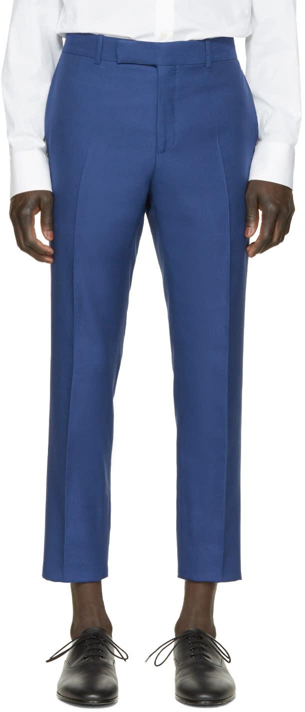 Alexander Mcqueen Blue Gabardine Trousers