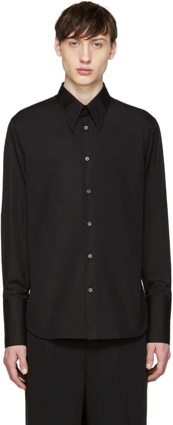 Alexander Mcqueen Black Poplin Long Cuffs Shirt
