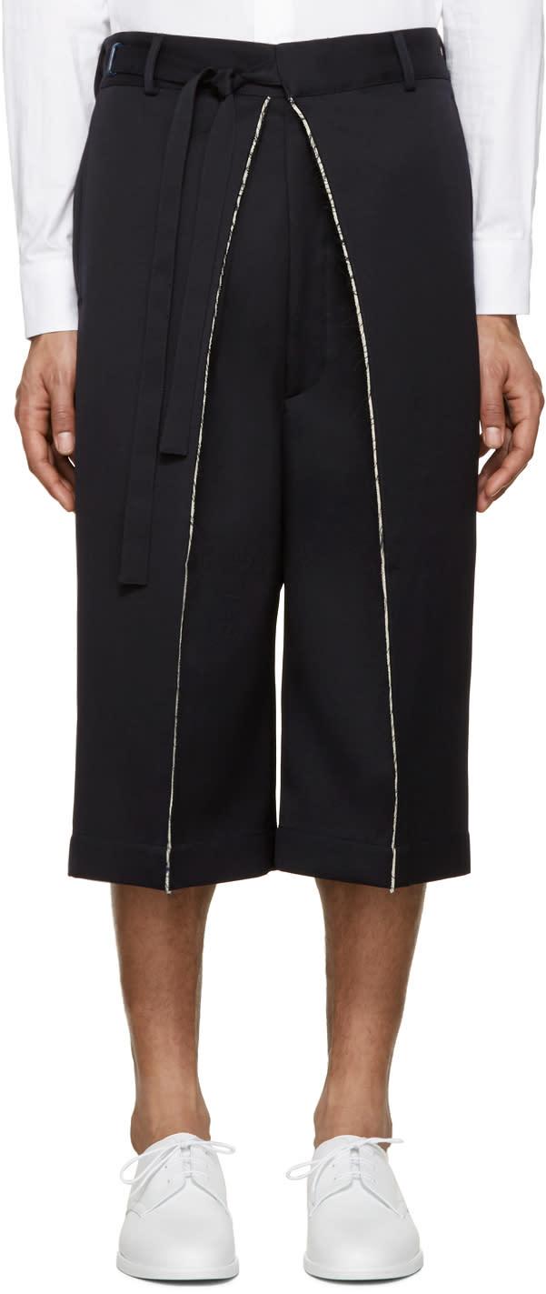 Alexander Mcqueen Navy Wool Frayed Shorts