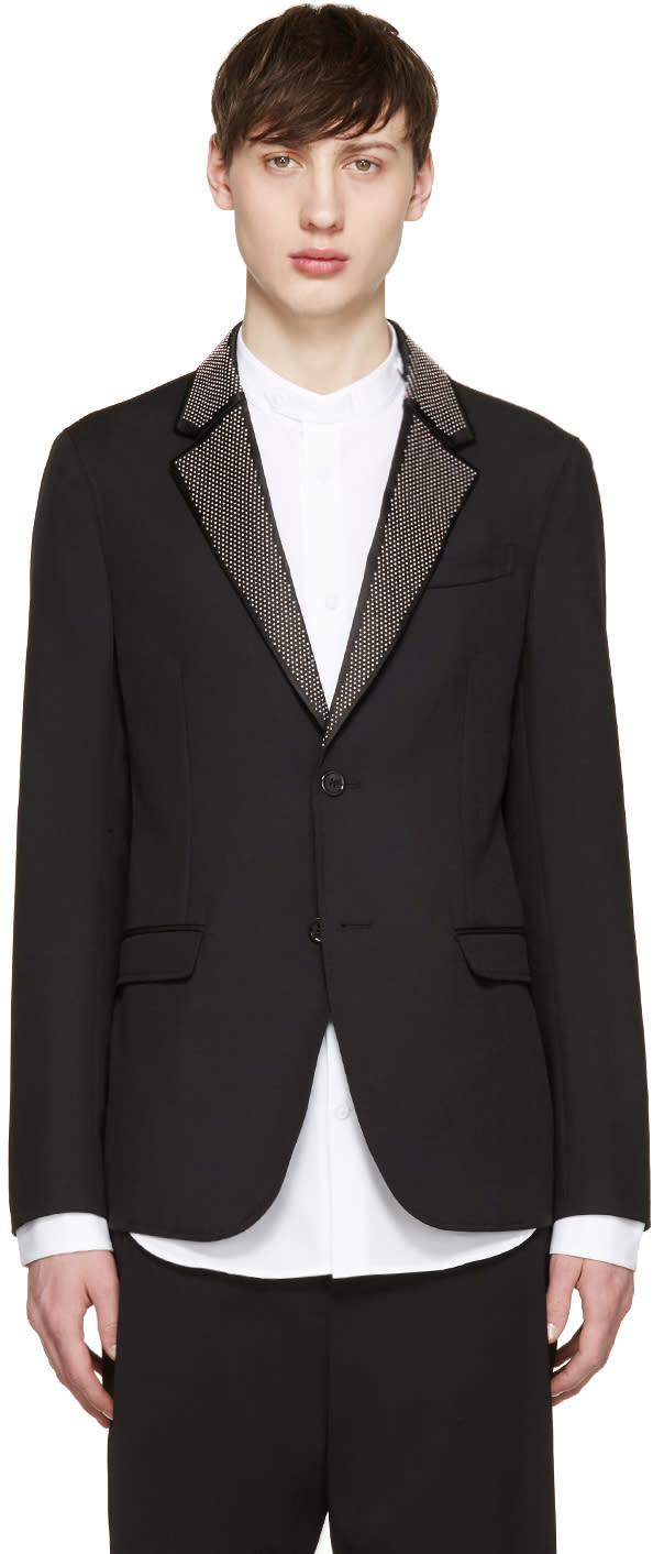 Alexander Mcqueen Black Studded Lapel Blazer